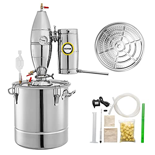 VEVOR 50L 13.2Gal Water Alcohol Distiller 304 Stainless Steel Moonshine Wine Making Boiler Home Kit with Thermometer for Whiskey Brandy Essential Oils, Sliver