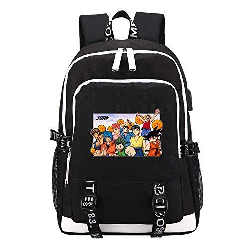 pZgfg 3D Anime One Piece Dragon Ball Druck Rucksack USB Lade Laptop Rucksack Schultaschen Reiserucksack
