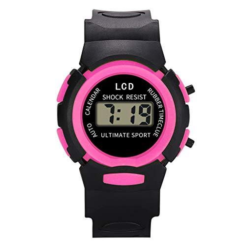 Kid's Watches Children Boys Grils Students Waterproof Sports Watch LED Digital Date Hours Luminous Wristwatch (Hot Pink)