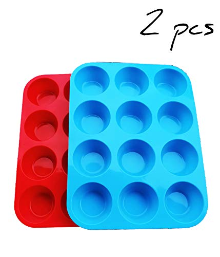 Non-Sticky Silicone Muffin Pan-Muffin Molder for Muffins and Cupcakes-Cupcake silicone molder-Baking Accessory-12 X Muffin Molders (12-Red+Blue)