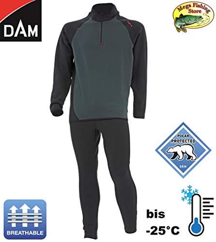 D A M X-pedition Thermo Fleece Unterwäsche Set - Winter Anzug/Thermoanzug bis -25°C - Atmungsaktiv - Funktionsunterwäsche/Angelanzug (XL)