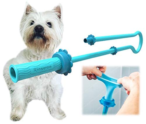 Rinseroo: Slip-on Dog Wash Hose Attachment. Pet Bather for Showerhead and Sink. Handheld Shower Sprayer/Washer. Fits Most Faucets. Universal 5 Foot Flex Hose. Not for Use On Tub Faucet (1 Pack)
