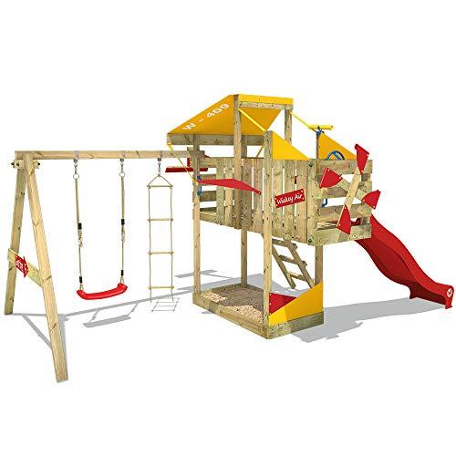 WICKEY Parque infantil de madera AirFlyer con columpio y tobogán rojo, Casa de juegos de jardín con arenero y escalera para niños