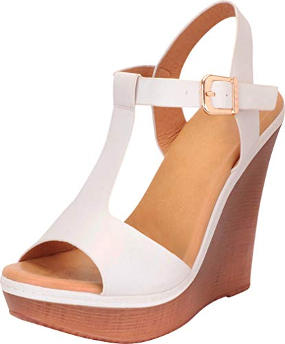 Cambridge Select Women's Open Toe T-Strap Chunky Platform Wedge Sandal (8.5 B(M) US, White PU)