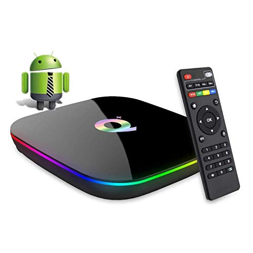 DeWEISN Android 9.0 TV Box, Q Plus Smart Box 4GB RAM 32GB ROM H6 Quad-Core cortex-A53 Mali T720 GPU Reproductor Multimedia 2.4GHz WiFi 6K H.265 100M Enternet con USB 3.0 Caja de Televisor