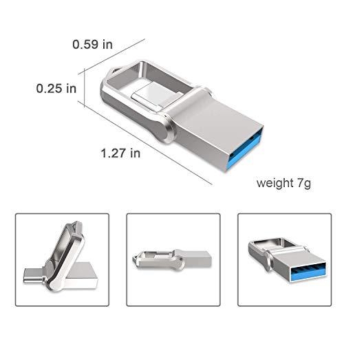 USB Stick 64GB, KEXIN OTG Speicherstick 2-in-1 Flash Drive USB3.0 Memory Stick USB Type C Flash Laufwerk mit Schlüsselanhänger Wasserdicht für PC/Laptop/Notebook, und andere USB-Geräte Silver