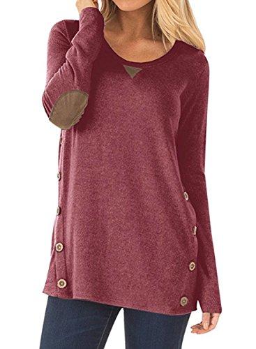 NICIAS Damen Seitliche Tasten Langarmshirt Pullover Lässige Rundhals Sweatshirt Ellenbogen Gepatcht Hemd Lose T Shirt Blusen Tunika Top(Wein, XXL)