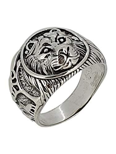 TreasureBay Anillo de plata de ley 925 maciza con diseño de león para hombre, Plata de ley.,