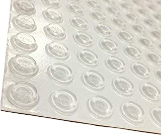 "Pack of 100 Cabinet Door Bumpers - Made in USA - 1/2"" Diameter Clear Adhesive Pads for Drawers, Glass Tops, Cutting Boards, Picture Frames, Small Furniture"