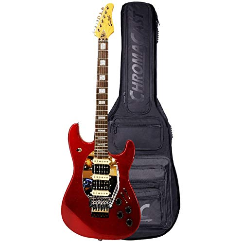 GoDpsMusic 6 String Sawtooth ES Hybrid Electric Guitar with Original Floyd Rose, Blood Red Sparkle, with ChromaCast Pro Series Gig Bag, Right, (ST FL-BRS)