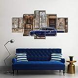 WUZHIXIN 5 Piezas Cuadros en lienzos Coche de época en la Habana Cuadros Modernos Impresión de Imagen Artística Decorativo para Salón o Dormitorio
