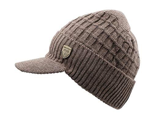 LLmoway Men's Winter Visor Beanie Warm Fleece Hat with Brim Thick Cuff Cable Knit Hat Ski Cap Khaki