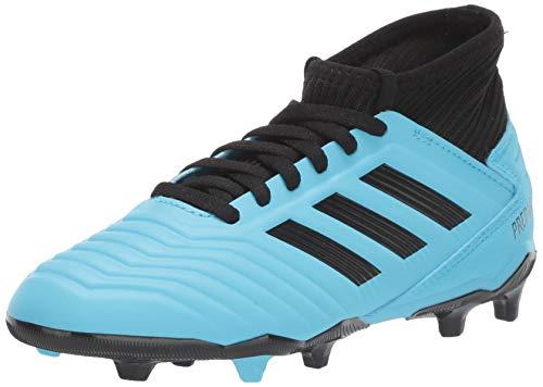 adidas Unisex-Kid's Predator 19.3 Firm Ground Soccer Shoe, Bright Cyan/Black/Solar Yellow, 2 M US Little Kid