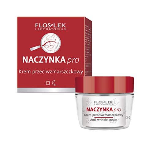 FLOSLEK Anti-Falten Gesicht Couperose Creme | 50 ml | Reduziert Rötungen, Glättet und Strafft | für die Pflege aller Haut-Type mit erweiterten Blutgefäßen | Hergestellt in der EU