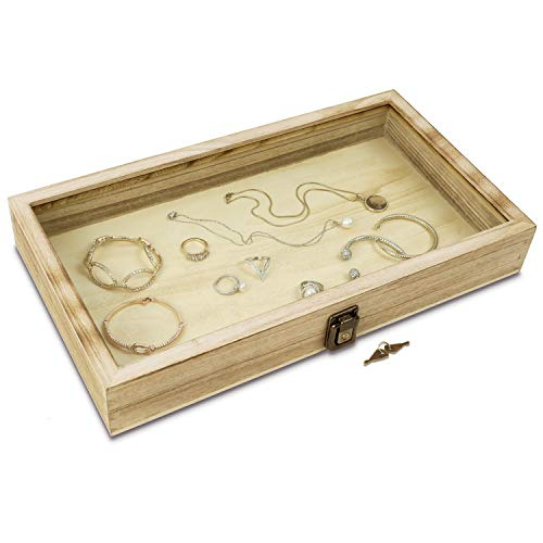 MOOCA Natural Wood Glass Top Jewelry Display Case Accessories Storage Box with Metal Clasp, Wooden Jewelry Tray for Collectibles, Home Organization with Key Lock, Oak