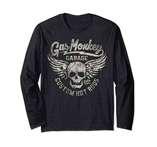 Gas Monkey Garage Skull And Wings Distressed Logo Long Sleeve T-Shirt