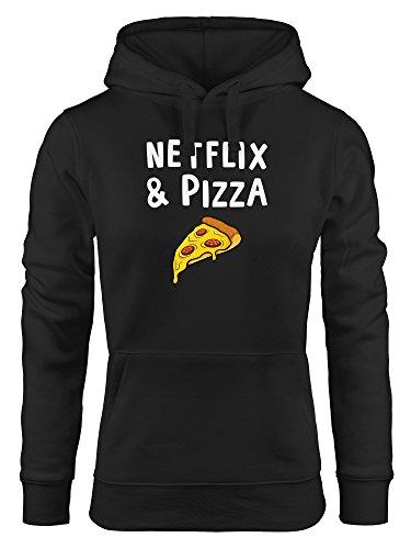 MoonWorks Kapuzen-Pullover Damen Netflix & Pizza Serienjunkie chillen Hoodie schwarz XL