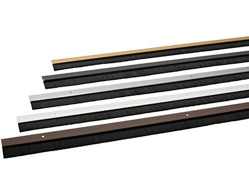 Türbodendichtung aus Aluminium mit Gummidichtung oder Bürstendichtung in 6 Farben zum Schrauben oder Kleben auswählbar (Bürstendichtung zum Schrauben, Braun)