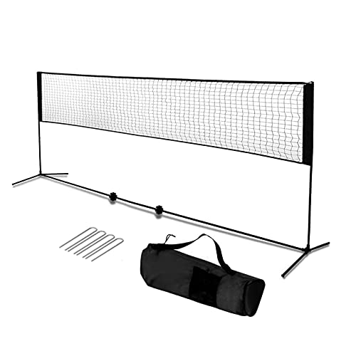 Badmintonnetz 4.2/5.1m Tennisnetz Volleyball Netz tragbar & höhenverstellbar 87-155 cm, Set enthält Mehrzwecknetz, Transporttasche, soliden Eisenrahmen und 4 Befestigungsnägeln (schwarz, 420)