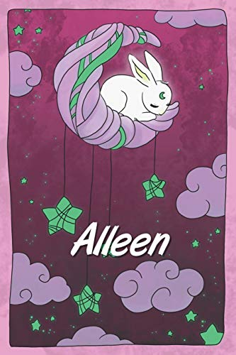Alleen: personalized notebook | sleeping bunny on the moon with stars | softcover | 120 pages | blank | useful as notebook, dream diary, scrapbook, journal or gift idea