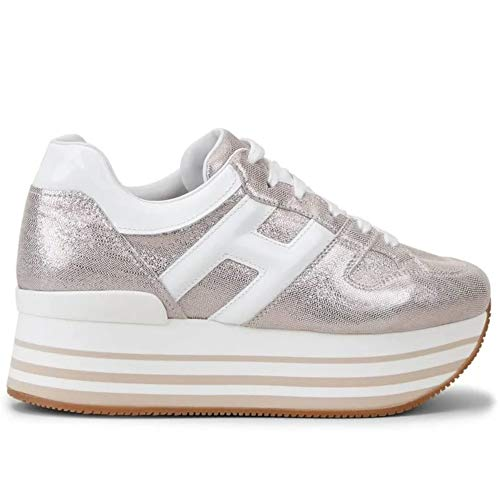 Hogan Sneakers Donna Maxi H222 Rosa e Bianco - HXW2830T548 N580QWW - Taglia 38