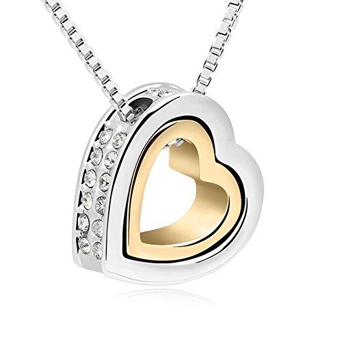 QUADIVA C! Collana da Donna Collana con Ciondolo a Cuore (colore: oro, oro bianco) abbellito con scintillanti cristalli di Swarovski®