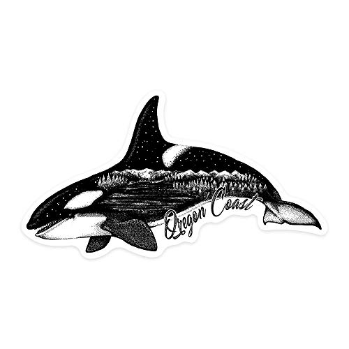 Stickers Seals Labels, Oregon Coast - Orca, Mountains, and Trees - Double Exposure Label Sticker for Wall Laptop Water Bottles Holiday Greeting Cards Gift Envelopes Boxes