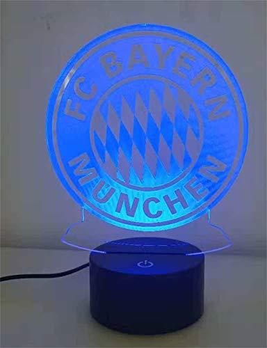 Bayern 3D Nachtlicht/LED Energiesparlampe, 7 Farben, Nachttischlampe, Touch/Fernbedienung, Schwarzer Sockel, Hauptdekor-Schlafzimmer-Acrylgrafik