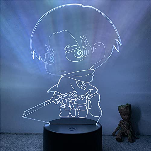Lámpara de ilusión 3D Luz de noche LED Anime Rivaille Ackerman Cute Attack Titan Doll Lámpara de mesa óptica táctil de 7 colores Decoración de habitación de regalo Oficina en casa Restaurante Fiesta
