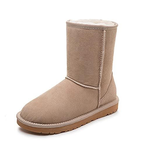 Botas de nieve altas para mujer, con forro de tobillo, botas de nieve, para caminar, al aire libre, senderismo, trekking, beige, 36