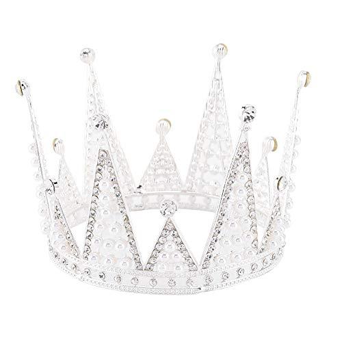 AUNMAS Zilveren Taart Kroon Vintage Volledige Ronde Kristallen Kroon Taart Topper voor Bruids Bruiloft Prinses Hoofdstukken Party Haaraccessoires Kroon