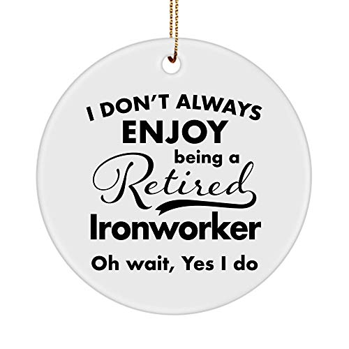 Ironworker Ornament for Retirement Party - Retired Retiring 2020 2021 Men Women Coworker Boss - Christmas Tree New Years Leaving Farewell Going Away, Circle