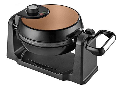 Team Kalorik Gofrera eléctrica giratoria de acero inoxidable, 1000 W, Placas redondas, Negro/Cobre, TKG WM 1050 CO