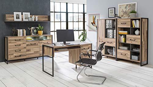 möbel-direkt Büromöbel Hud in Betonoptik Dunkelgrau und Stabeiche 5 Teile von Forte mit Schreibtisch, Aktenregalen, Kommode und Wandboard