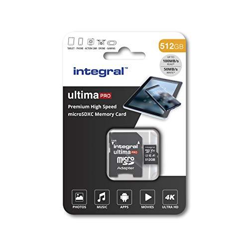 Integral Carte Mémoire 512Go Micro SDXC + Adaptateur SDHC/SDXC Premium Haute Vitesse jusqu'à 100MB/s Classe 10 V30 UHS-I U3