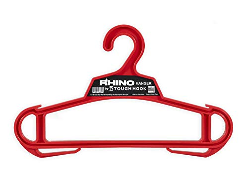 Rhino Hanger  The Everyday for Everything Hanger   USA Made   200 lb Load Capacity  Premium Professional Grade Large Heavy Duty Standard Hanger   Unbreakable Multipurpose All-Purpose (Red)