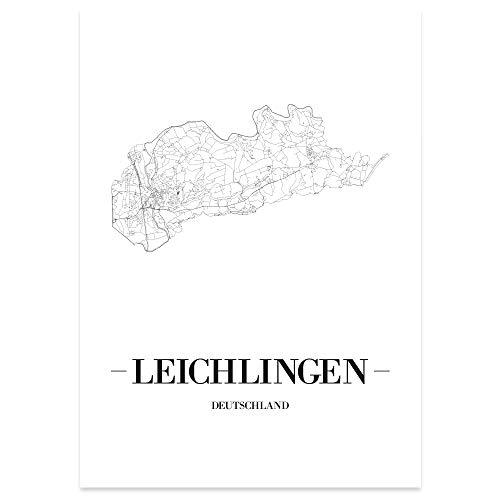 JUNIWORDS Stadtposter - Wähle Deine Stadt - Leichlingen - 60 x 90 cm Poster - Schrift A - Weiß