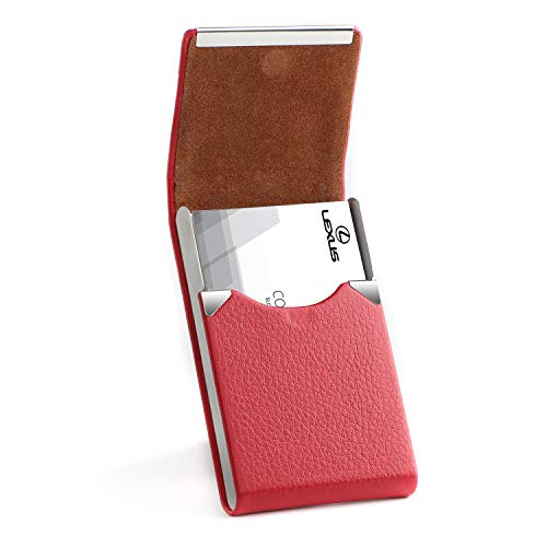 MaxGear PU Leather Business Card Holder for Women Slim Pocket Business Name Card Holder Stainless Steel Business Card Case with Magnetic Shut,Red