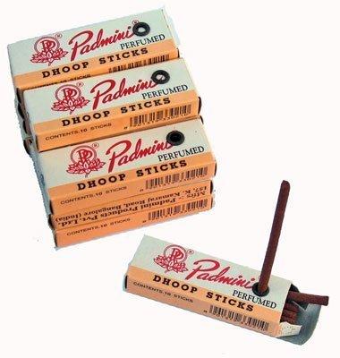 "Padmini Dhoop Sticks - 12 Boxes of 10 Sticks Each - 2"" Regular by Padmini"