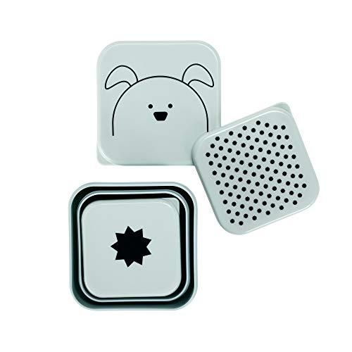 LÄSSIG Kinder Snackbox 3er Set stapelbar spülmaschinengeeignet/Snackbox Little Chums Dog