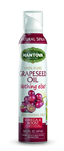 Mantova Grapeseed Oil, 100% Pure Cooking Spray with Omega-6, perfect for grilling, baking, or seasoning for cooking, our oil dispenser bottle lets you spray, drip, or stream with no waste, 5 oz