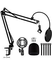 Puroma Heavy Duty Microphone Stand,Extendable Mic Suspension Boom Scissor Arm Stand with Dual Layered Mic Pop Filter and shock mount for Blue Yeti Snowball, Yeti Nano, Yeti x and other Mic