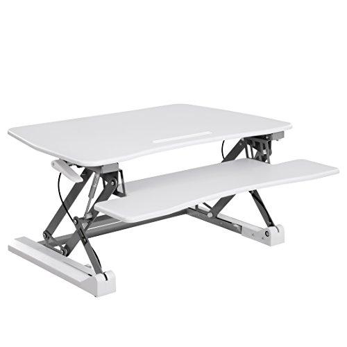 SONGMICS Sitz-Steh-Schreibtisch höhenverstellbarer Aufsatz Steharbeitsplatz Monitorständer mit Abnehmbarem Tastaturhalter, geräumige Tischplatte (90 x 59 cm) LSD07WT