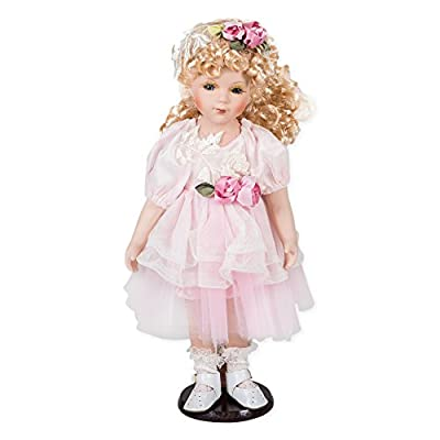 "Delton Products Porcelain Doll Roxanne Toy Figure, 16"""