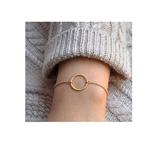 DeScount Dainty Gold Karma Bracelet,Open Circle Bracelets for Women