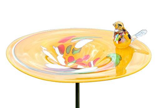 Cristalica Vogeltränke Vogelbad Gartendekoration Glas Mundgeblasen Orange 30 cm inkl. Stab