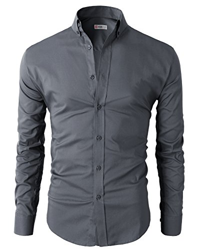 H2H Mens Casual Slim Fit Basic Designed Button Down Shirts GRAY US M/Asia L (KMTSTL0416)