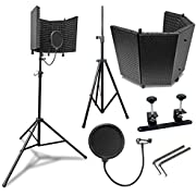 AxcessAbles SF-101KIT-VB Vented Recording Studio Microphone Shield with Stand (Black)