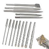 CPROSP SDS Plus Set di Punte e Scalpelli in Scatole Rotanti, 2 X Scalpelli a Punta, 3 X Scalpelli Piatti, 9 X Punte con 4 Taglienti