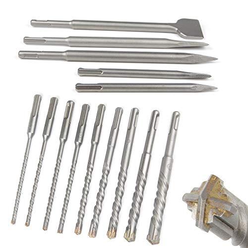CPROSP SDS Plus Bohrer & Meißel Set in Drehboxen, 2 x Spitzmeisseln, 3 x Flachmeissel, 9 x Bohrer mit 4 Schneiden